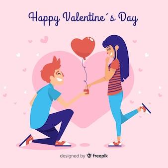 Kniel jongen valentijnsdag achtergrond