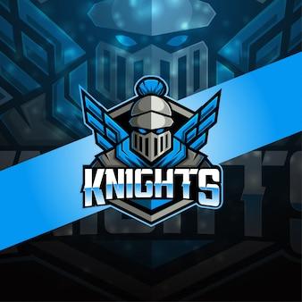 Knight esport mascotte logo ontwerp