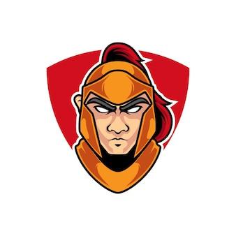 Knight head e sport mascot-logo