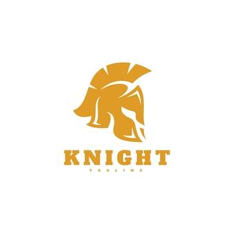 Knight spartan helm hoofd silhouet pictogram logo ontwerp