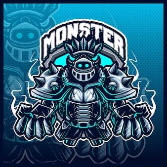 Knight warrior monster mascot esport logo ontwerp illustraties vector sjabloon, stelen guardian monster logo voor team game streamer merch, volledige kleur cartoon stijl
