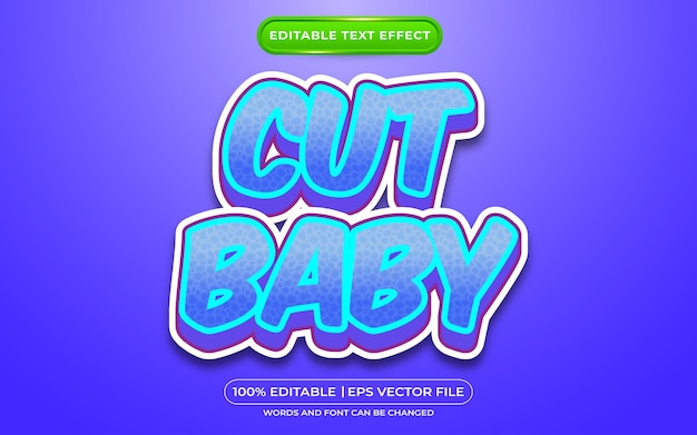 Knip baby bewerkbare teksteffect cartoonstijl