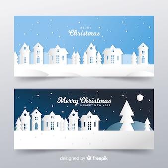 Knip de banner van het kerststadlandschap uit
