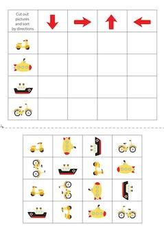 Knip de onderstaande transportkaarten uit en sorteer ze op aanwijzingen. educatief spel voor kinderen.