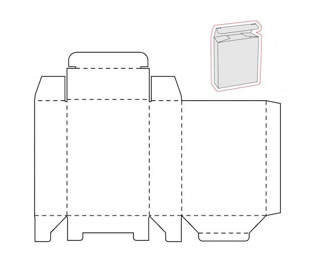 Knip de sjabloon uit van een eenvoudige doos