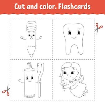 Knip en kleur. flashcard-set. kleurboek voor kinderen. stripfiguur.