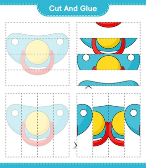 Knip en lijm de uitgesneden delen van de fopspeen en lijm ze educatief kinderspel afdrukbaar werkblad