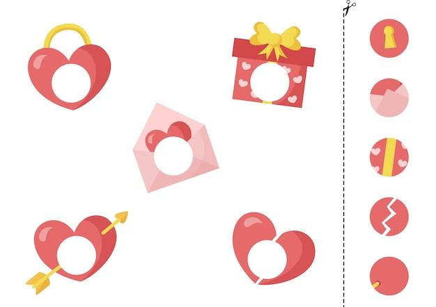 Knip en lijm delen van cartoon valentijn elementen. educatief logisch spel voor kinderen
