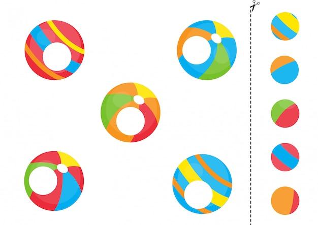 Knip en lijm delen van speelgoedballen. educatief spel.