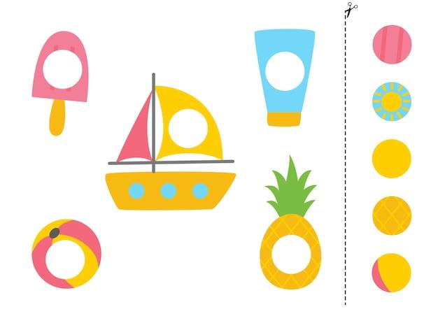 Knip en lijm delen van zomerelementen. educatief logisch spel voor kinderen. bijpassend spel.