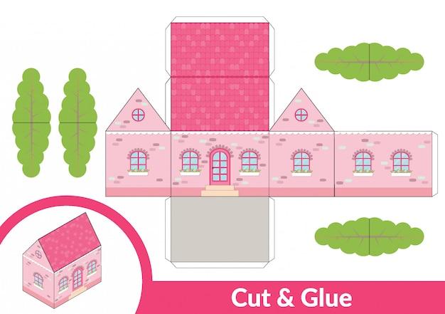 Knip en lijm een roze huis