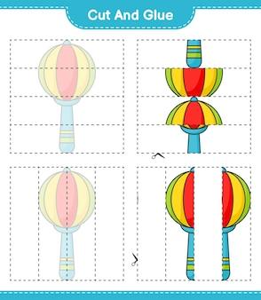 Knip en lijm gesneden delen van baby rattle en lijm ze educatief kinderspel afdrukbaar werkblad