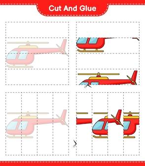 Knip en lijm gesneden delen van helicopter en lijm ze educatief kinderspel afdrukbaar werkblad