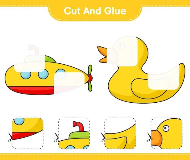 Knip en lijm gesneden delen van onderzeeër en badeend en lijm ze educatief kinderspel