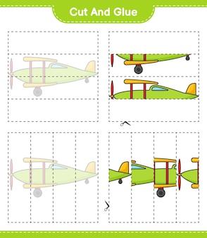 Knip en lijm gesneden delen van plane en lijm ze educatief kinderspel afdrukbaar werkblad