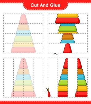 Knip en lijm gesneden delen van pyramid toy en lijm ze educatief kinderspel afdrukbaar werkblad