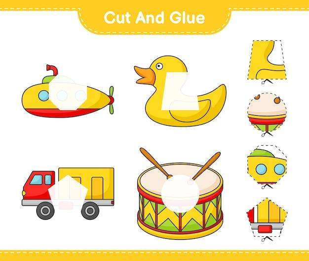 Knip en lijm gesneden delen van submarine rubber duck lorry drum en lijm ze
