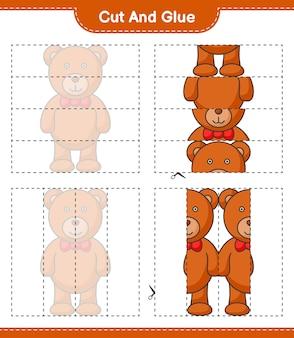Knip en lijm gesneden delen van teddy bear en lijm ze educatief kinderspel afdrukbaar werkblad