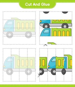Knip en lijm gesneden delen van vrachtwagen en lijm ze educatief kinderspel afdrukbaar werkblad