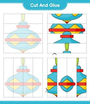 Knip en lijm gesneden delen van whirligig toy en lijm ze educatief kinderspel