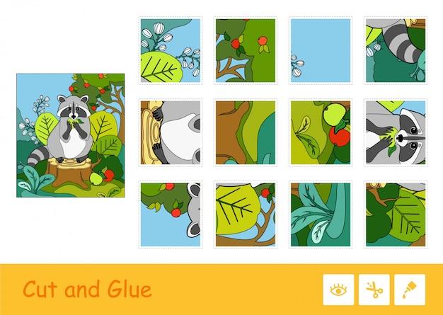 Knip en lijm kleurrijke puzzelsjabloon en leer spel voor kinderen met de afbeelding van een wasbeer die een appel in een bos eet. educatieve activiteit voor wilde dieren voor kinderen.