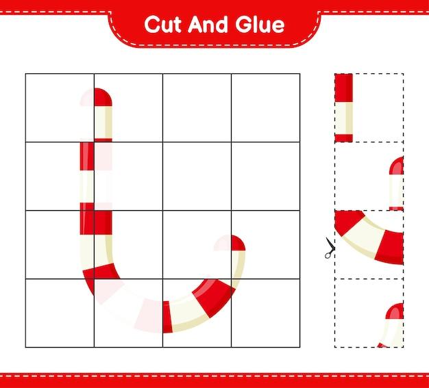 Knip en lijm, knip delen van candy canes uit en lijm ze vast. educatief kinderspel, afdrukbaar werkblad