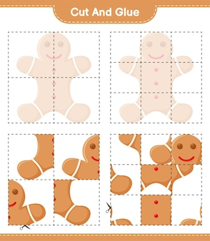 Knip en lijm, knip delen van gingerbread man uit en plak ze vast. educatief kinderspel, afdrukbaar werkblad