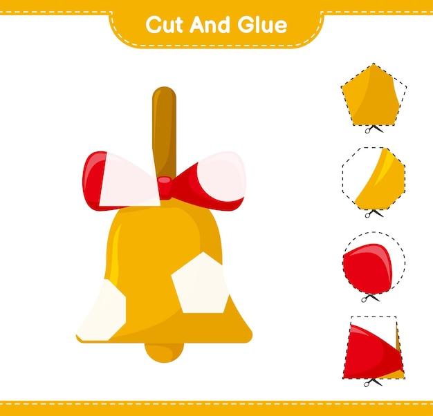 Knip en lijm, knip delen van golden christmas bells uit en plak ze vast. educatief kinderspel, afdrukbaar werkblad