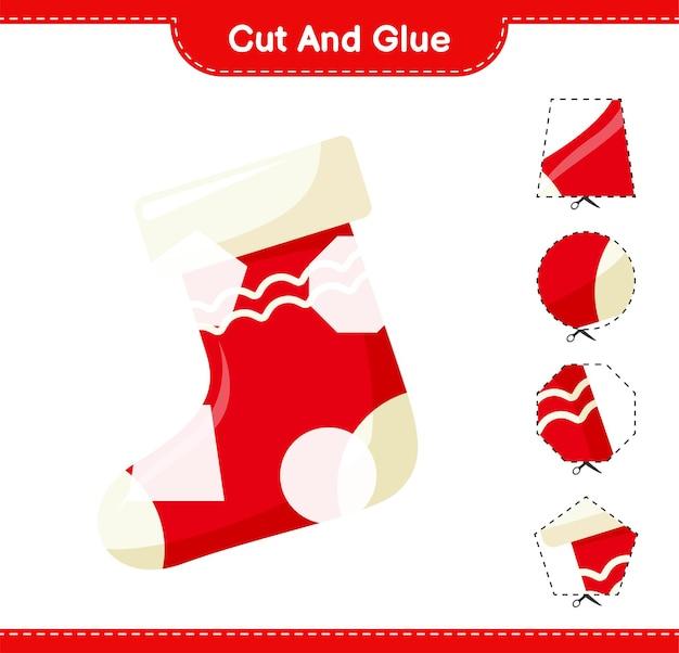 Knip en lijm, knip delen van kerstsok uit en plak ze vast. educatief kinderspel, afdrukbaar werkblad