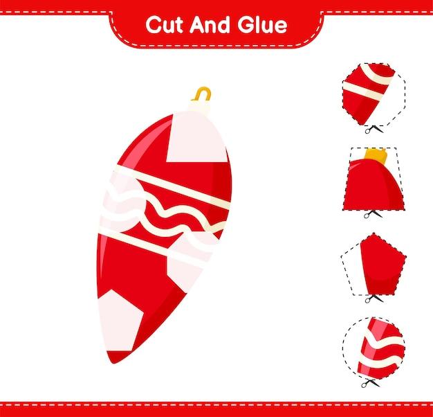 Knip en lijm, knip delen van kerstverlichting uit en plak ze vast. educatief kinderspel, afdrukbaar werkblad