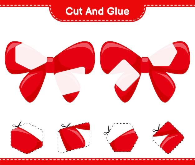 Knip en lijm, knip delen van linten uit en plak ze vast. educatief kinderspel, afdrukbaar werkblad