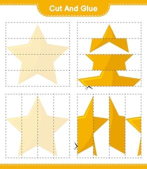 Knip en lijm, knip delen van stars uit en plak ze vast. educatief kinderspel, afdrukbaar werkblad