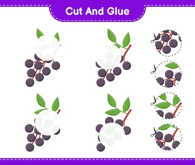 Knip en lijm, knip delen van vlierbes uit en lijm ze vast. educatief kinderspel, afdrukbaar werkblad
