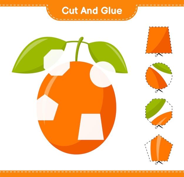 Knip en lijm, knip delen van ximenia uit en lijm ze vast. educatief kinderspel, afdrukbaar werkblad