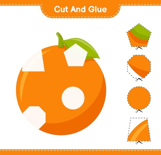 Knip en lijm, knip stukjes sinaasappel uit en plak ze vast. educatief kinderspel, afdrukbaar werkblad