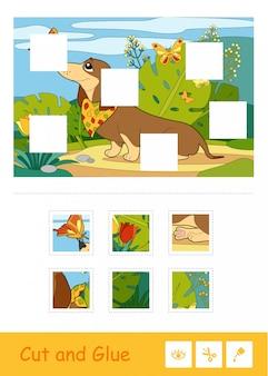 Knip en lijm puzzel lerend kinderspel met kleurenbeeld van een hond die speelt met vlinders op een weide. huisdieren en pers educatieve activiteit voor kinderen.