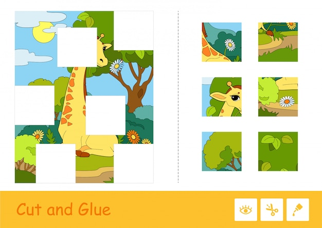 Knip en lijm puzzel lerend kinderspel met kleurrijke afbeelding van een giraf die een bloem eet in een bos, verdeeld in verschillende delen. educatieve activiteit voor wilde dieren voor kinderen.
