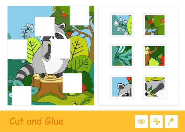 Knip en lijm puzzel lerend kinderspel met kleurrijke afbeelding van een wasbeer die een appel in een bos eet. educatieve activiteit voor wilde dieren voor kinderen.