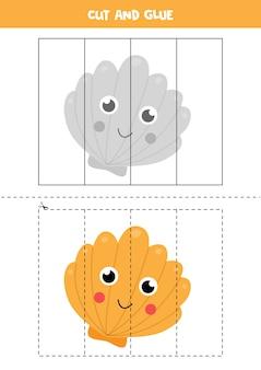 Knip en lijm schattige kawaii zeesterren. educatief spel voor kinderen. leren knippen. puzzel voor kinderen.