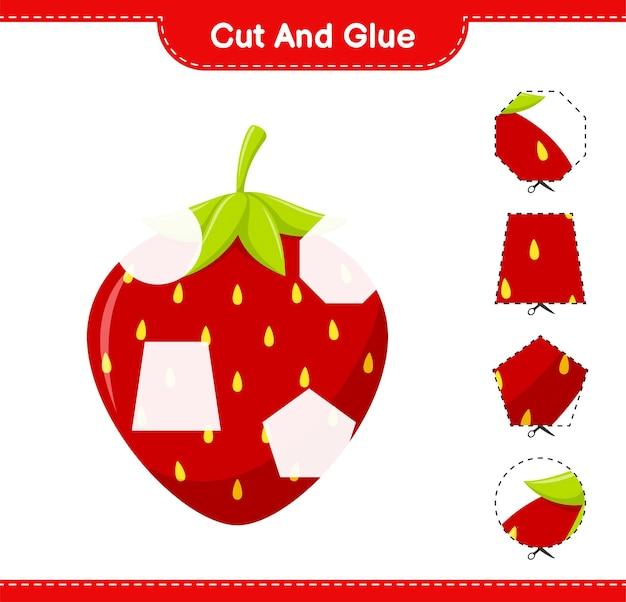 Knip en lijm, snijd delen van aardbei en plak ze vast. educatief kinderspel, afdrukbaar werkblad