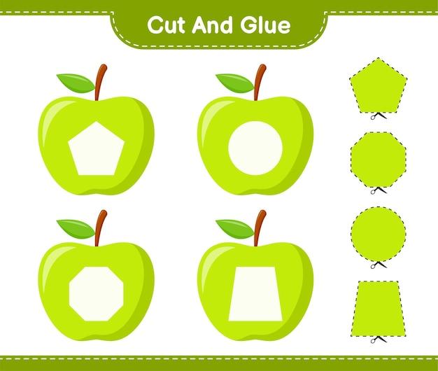 Knip en lijm, snijd delen van apple en plak ze vast. educatief kinderspel, afdrukbaar werkblad