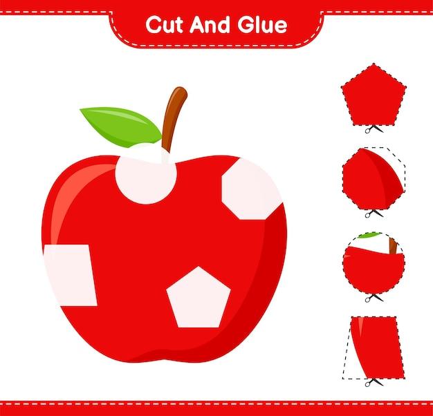 Knip en lijm, snijd delen van apple en plak ze vast. educatief kinderspel, afdrukbaar werkblad Premium Vector