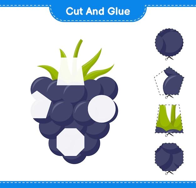 Knip en lijm, snijd delen van bramen en plak ze vast. educatief kinderspel, afdrukbaar werkblad