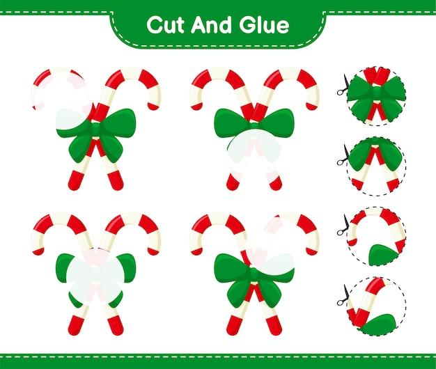 Knip en lijm, snijd delen van candy canes met ribbon en plak ze vast. educatief kinderspel, afdrukbaar werkblad
