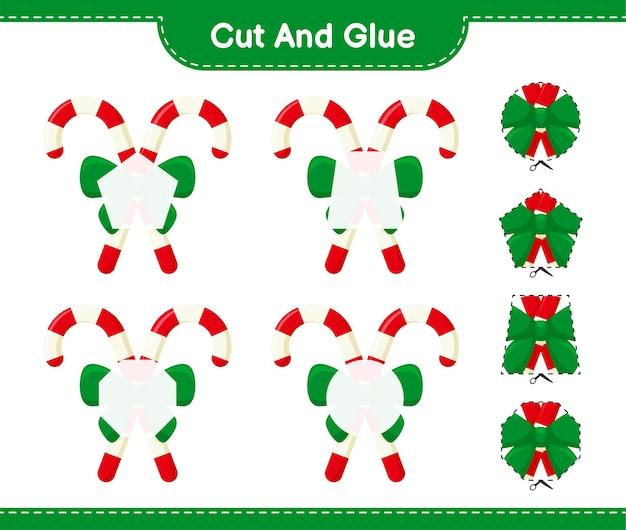 Knip en lijm, snijd delen van candy canes met ribbon en plak ze vast. educatief kinderspel, afdrukbare werkbladen