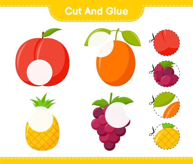 Knip en lijm, snijd delen van fruit en plak ze vast. educatief kinderspel, afdrukbaar werkblad