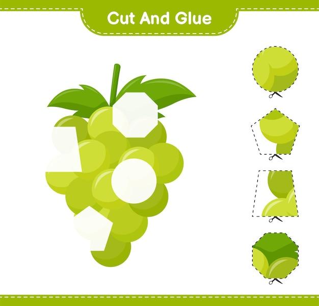 Knip en lijm, snijd delen van grape en lijm ze. educatief kinderspel, afdrukbaar werkblad