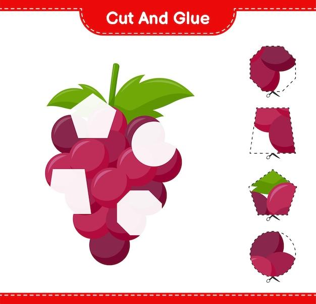 Knip en lijm, snijd delen van grape en lijm ze. educatief kinderspel, afdrukbaar werkblad Premium Vector