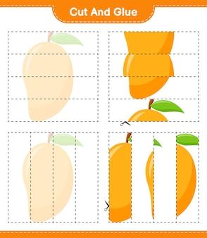 Knip en lijm, snijd delen van mango en lijm ze vast. educatief kinderspel, afdrukbaar werkblad