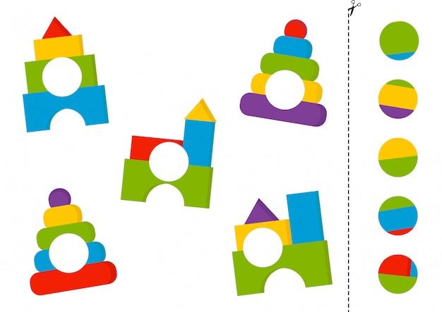 Knip en lijm spel met cartoon speelgoedpiramide en toren.